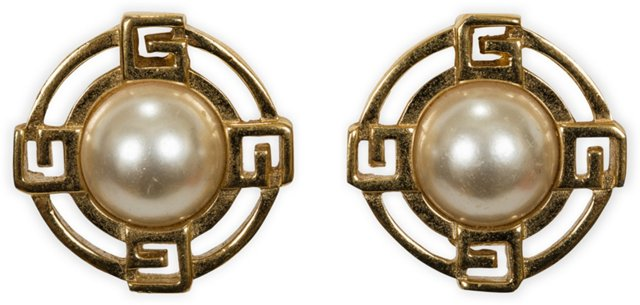 1980s Givenchy Logo Pearl Clip Earrings