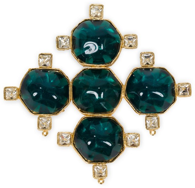 Kenneth Jay Lane Emerald Rhinestone Pin