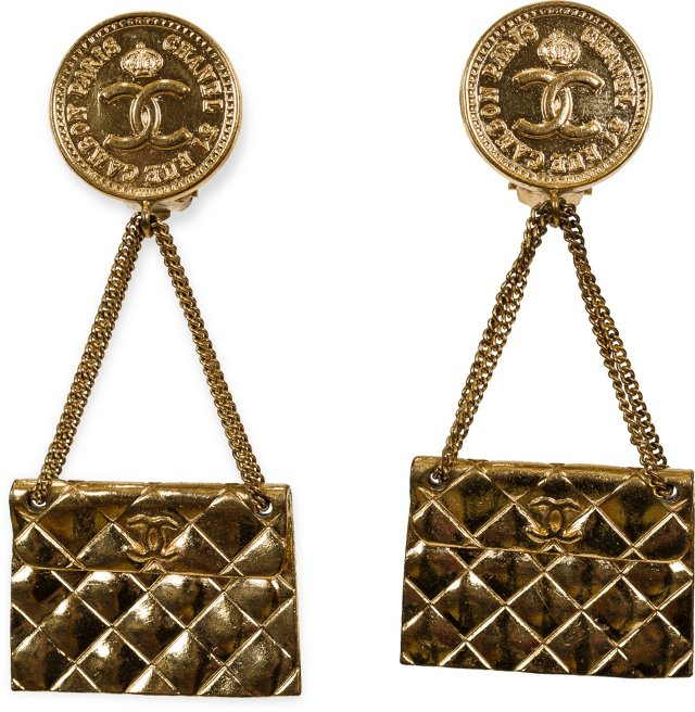 Chanel Quilted Flap Bag Drop Earrings