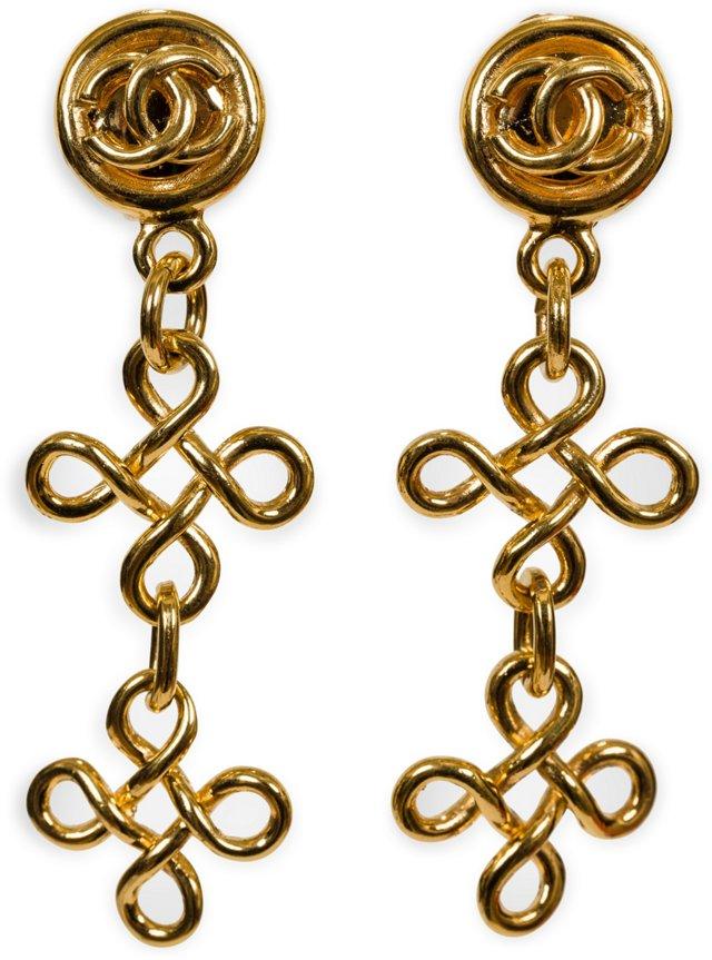 Chanel Gold Dangle Clip Earrings