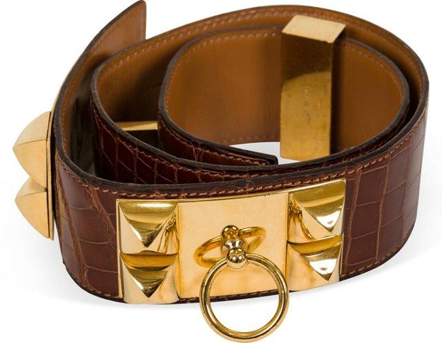 Hermès Croc Collier De Chien Belt
