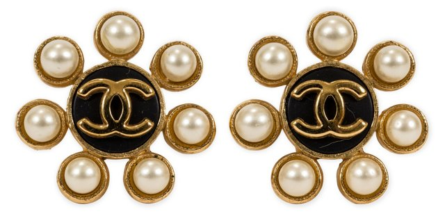 Chanel Faux-Pearl Floral Earrings