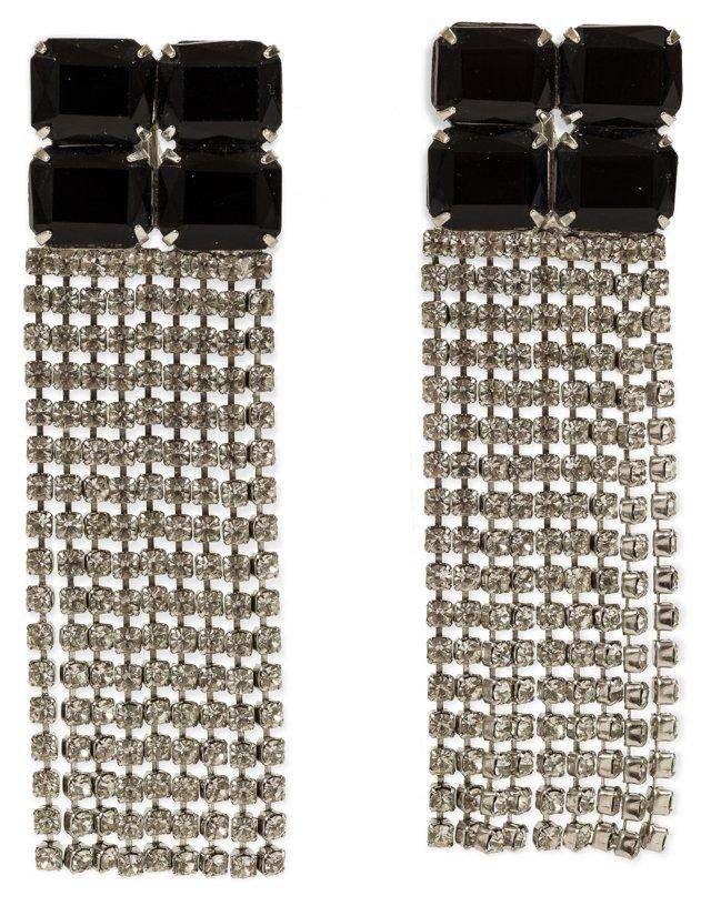 Black Jet & Rhinestone Earrings