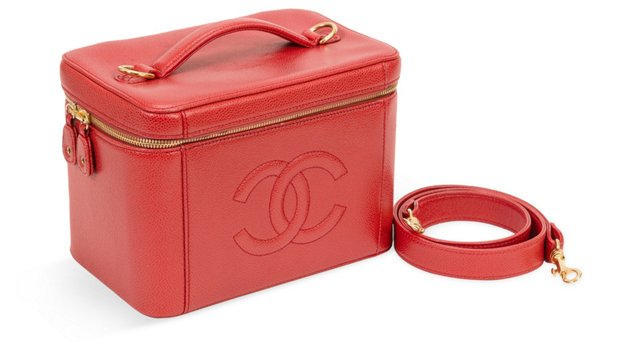Chanel Red Caviar Leather Travel Case