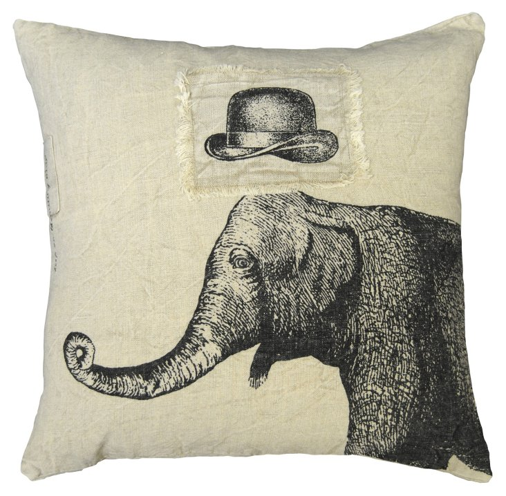 Hat & Elephant Pillow 24x24