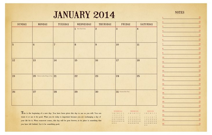 Two Year Desk Calendar
