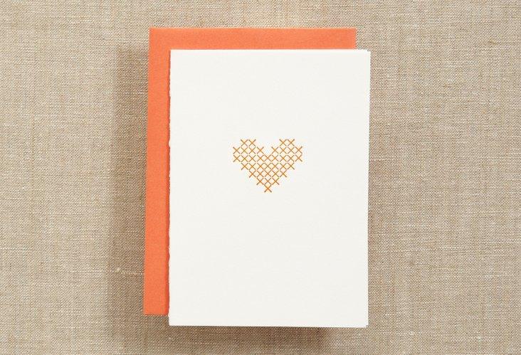 Set of 12 Cross Stitch Heart Cards