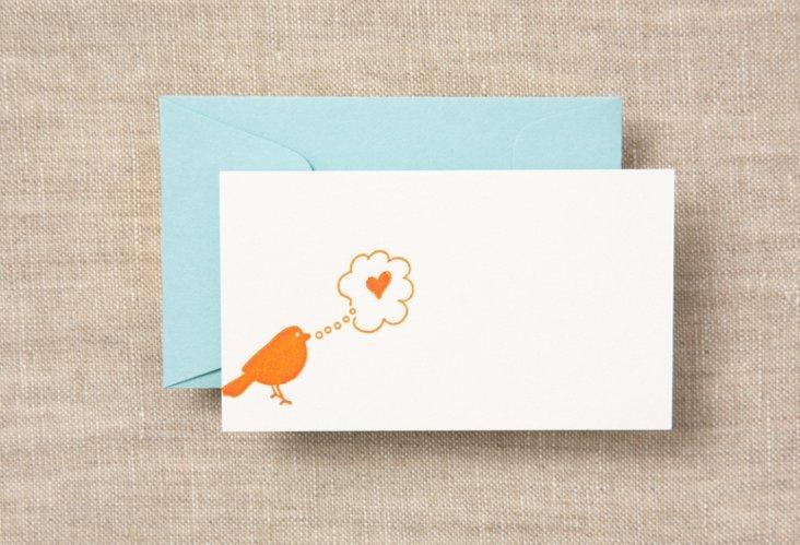 Set of 12 Bird & Heart Petit Cards