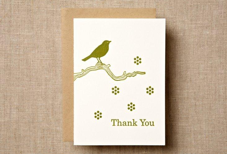 S/12 Bird & Branch Thank You Card
