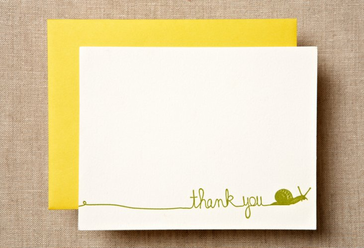 S/12 Snail Thank You Cards
