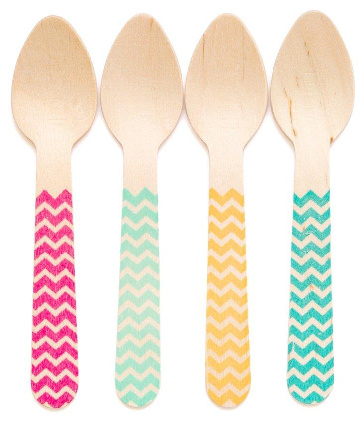 S/40 Assorted Wooden Spoons, Chevron