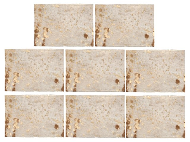 Gold Cowhide Placemats, Set of 8