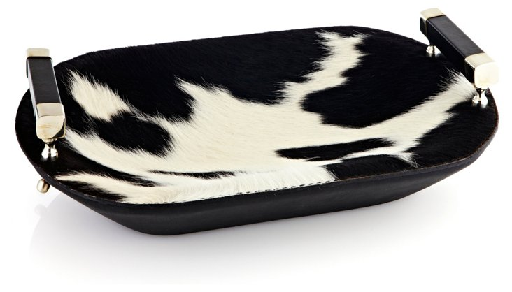 16x10 Hide & Leather Tray, Black/White