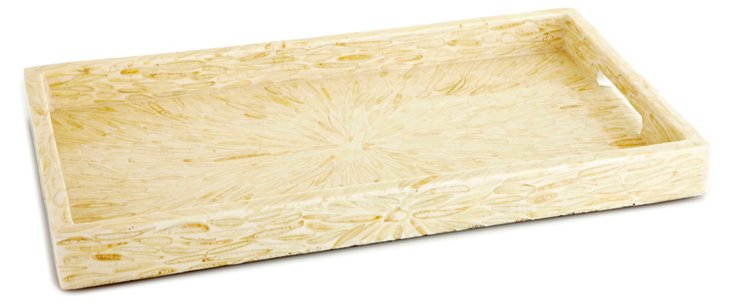 "20"" Wood & White Almond Tray, Beige"