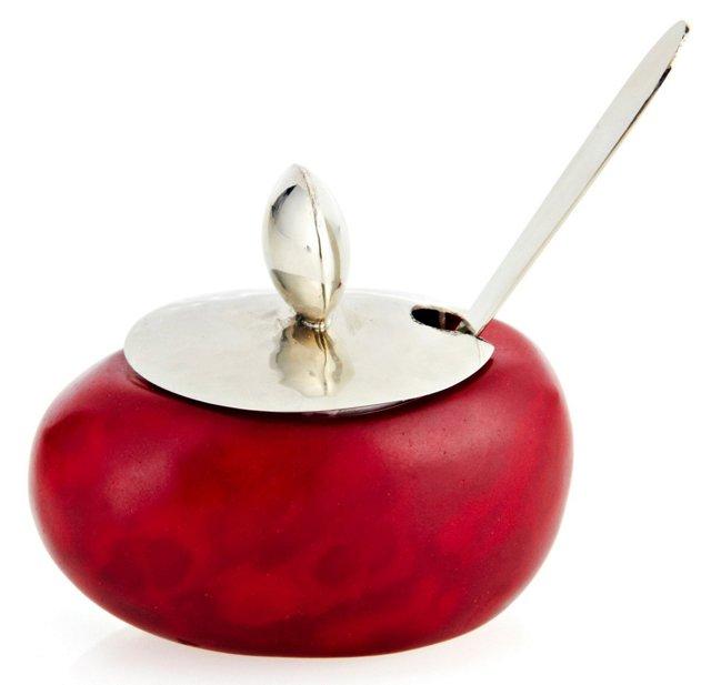 Tagua Seed Cellar w/ Spoon, Red