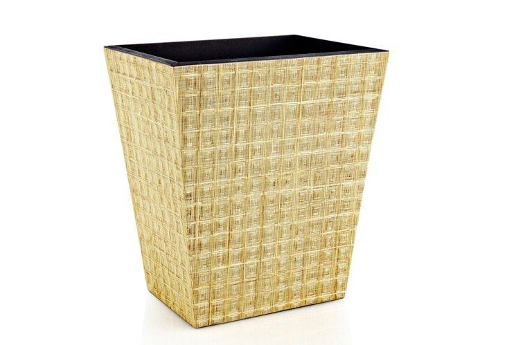 Natural Corn Husk Veneer Wastebasket