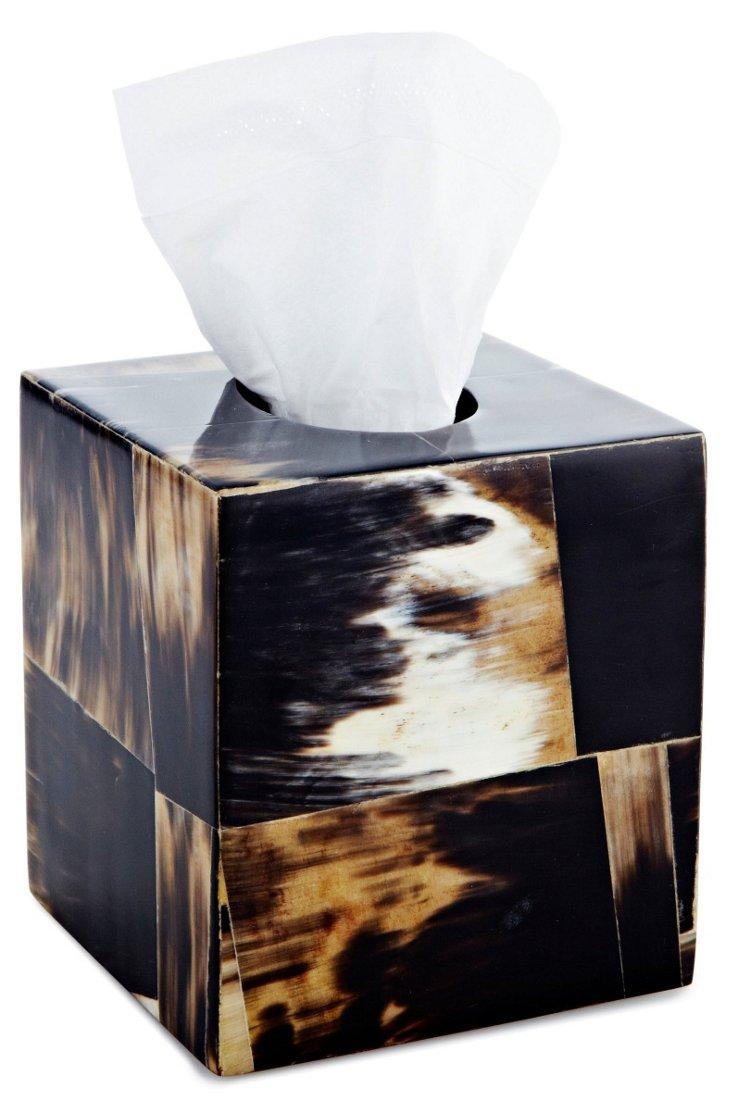 Horn Veneer Tissue Box, Black