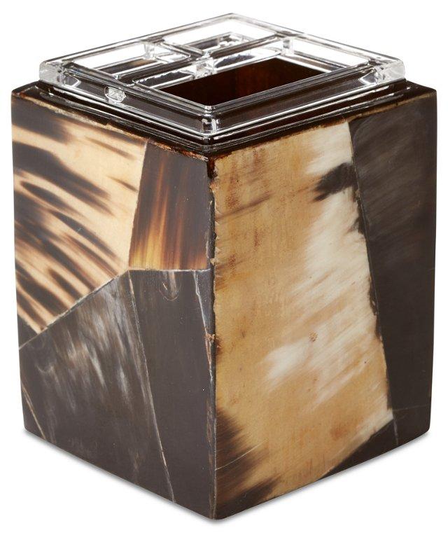 Horn Veneer Vanity Container