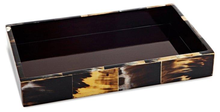 Horn Veneer Vanity Tray, Black