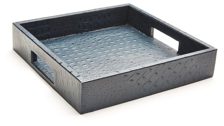 """12"""" Leather Tray, Navy"""