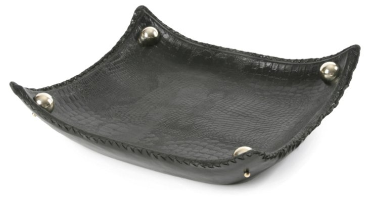 """19"""" Black Leather Tray w/ Silver Accents"""