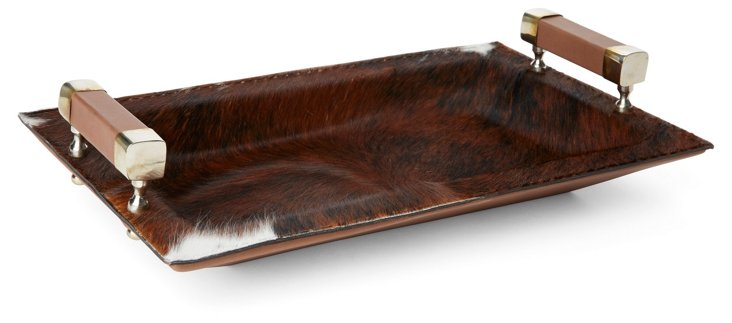 "16"" Leather and Hide Tray, Brown"