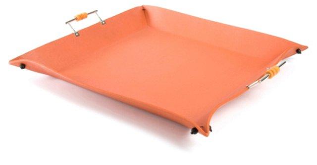 """16"""" Orange Leather Tray"""