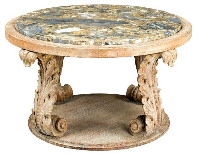 Low Oak Coffee Table w/ Marble Top