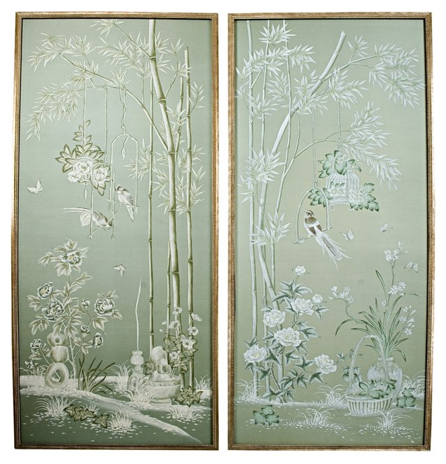 Framed Hand-Painted Silk Panels, Pair