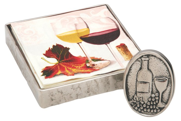 Wine-Themed Napkins, Holder, & Napkins
