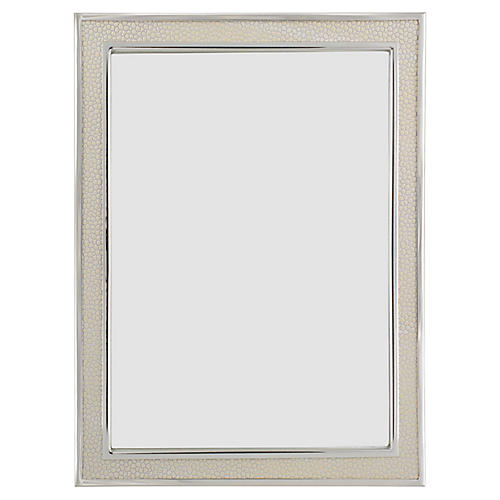 Villere Faux-Shagreen Picture Frame, Cream/Silver