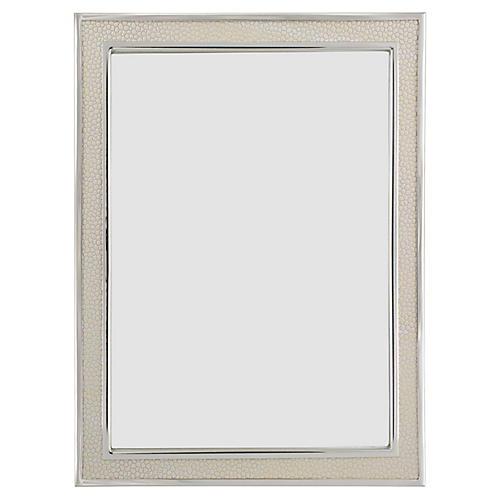 Villere Faux-Shagreen Picture Frame, Cream/Silver