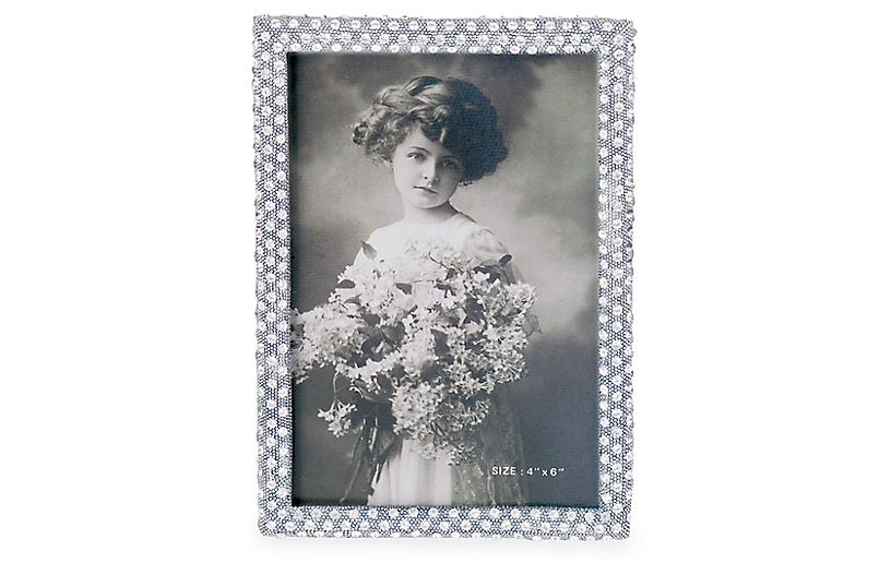 Palmyra Jeweled Picture Frame, Silver