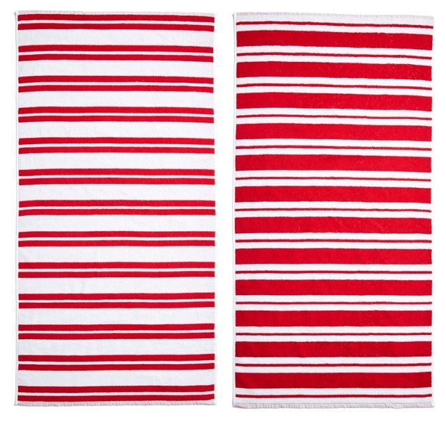 Stripes Beach Towel, Red