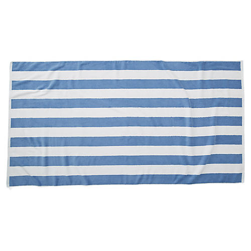 Cabana Stripe Beach Towel, French Blue