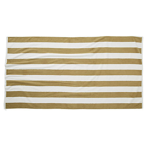 Cabana Stripe Beach Towel, Taupe