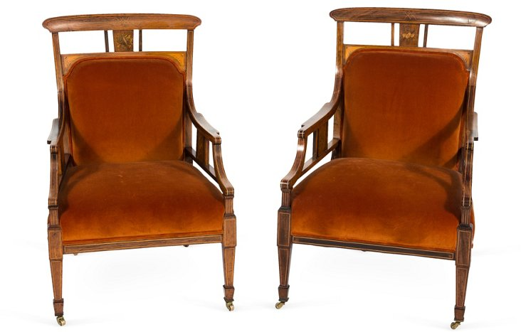 English Edwardian Armchairs, Pair