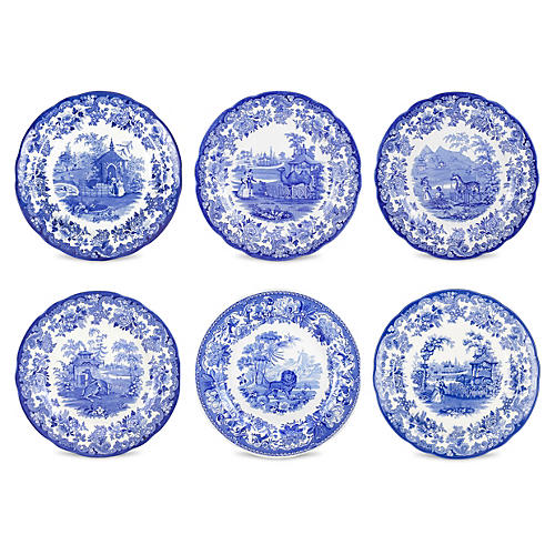 S/6 Assorted Porcelain Plates