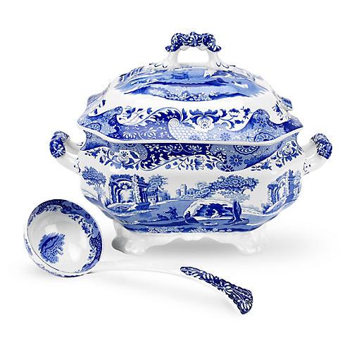 Porcelain Soup Tureen & Ladle
