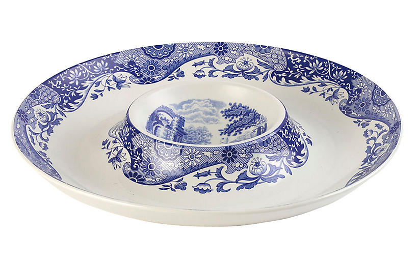 Porcelain Scenic Chip & Dip Serving Tray
