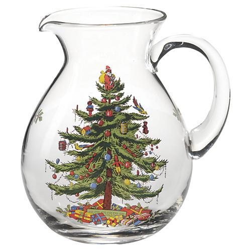 Glass Christmas Tree Pitcher