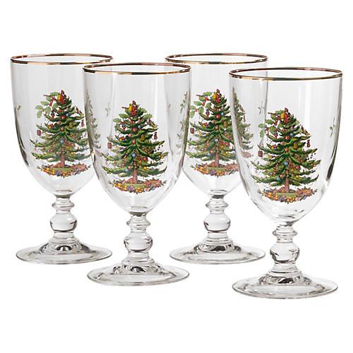 S/4 Christmas Tree Pedestal Goblets