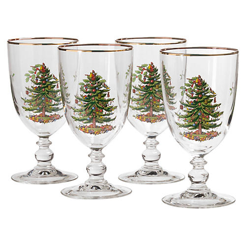 S/4 Christmas Tree Pedestal Goblets
