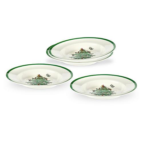 S/4 Christmas Tree Soup Plates