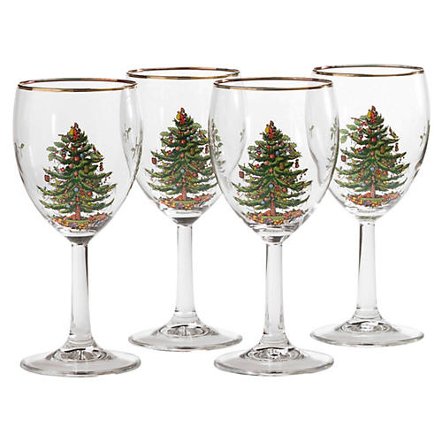 S/4 Christmas Tree Wineglasses