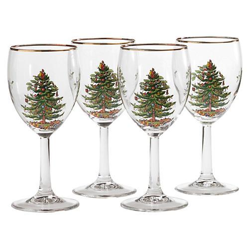 S/4 Christmas Tree Wineglasses