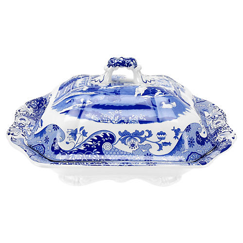 Blue Italian Vegetable Dish & Cover