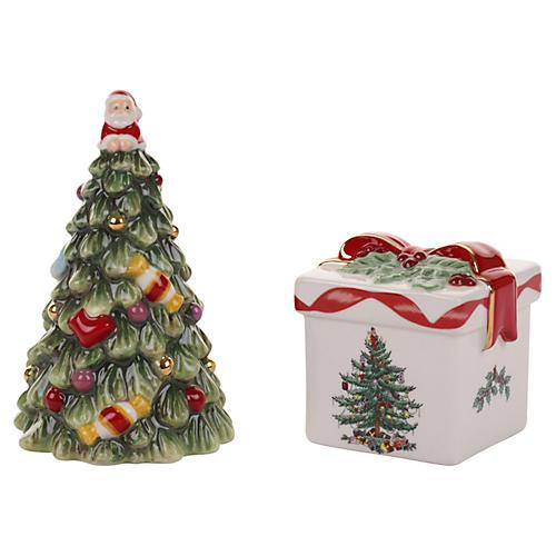 Tree and Gift Box Salt & Pepper Set