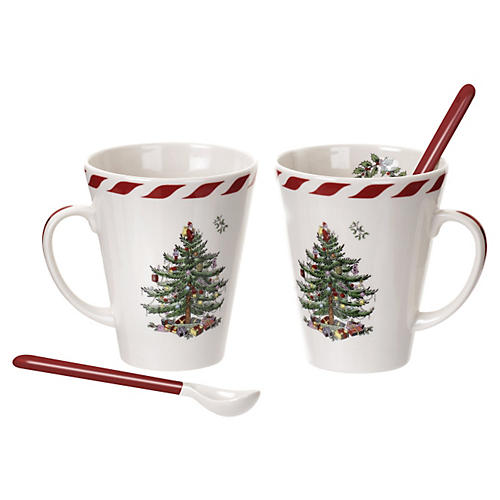 S/2 Christmas Mugs, White
