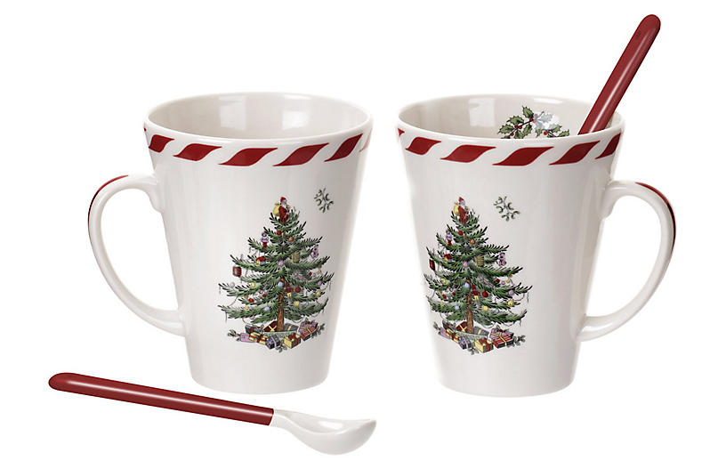 Set of 2 Christmas Mugs - White - Spode